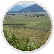 Lamar Valley Yellowstone National Park Round Beach Towel