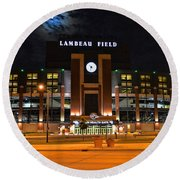 Lambeau Field At Night Round Beach Towel by Tommy Anderson