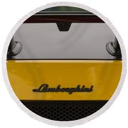 Lambo Logo Yellow Round Beach Towel