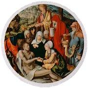 Lamentation For Christ Round Beach Towel