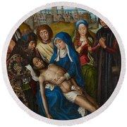 Lamentation With Saint John The Baptist And Saint Catherine Of Alexandria Round Beach Towel