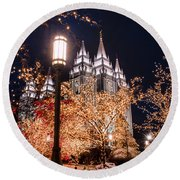Lamp Post Slc Temple Round Beach Towel