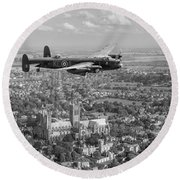 Lancaster City Of Lincoln Over The City Of Lincoln Black And White Round Beach Towel
