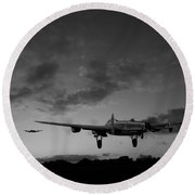 Lancasters Taking Off At Sunset Bw Round Beach Towel