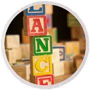 Lance - Alphabet Blocks Round Beach Towel