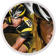 Lance Armstrong Artwork Round Beach Towel