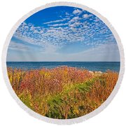 Land Sea Sky Round Beach Towel