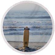 Land Surf Board Round Beach Towel
