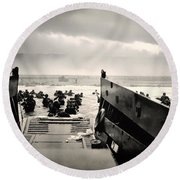 Landing At Normandy On D-day Round Beach Towel
