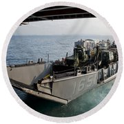 Landing Craft Utility Departs The Well Round Beach Towel