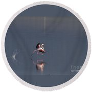 Landing Flamingo Round Beach Towel