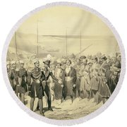 Landing Of A Military Leader Round Beach Towel