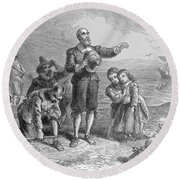 Landing Of The Pilgrims, 1620, Engraved By A. Bollett, From Harpers Monthly, 1857 Engraving B&w Round Beach Towel