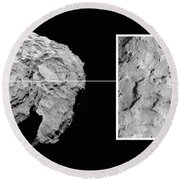 Landing Site On Comet 67pc-g In Context Round Beach Towel