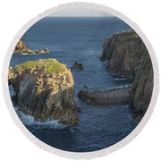 Lands End Cornwall Round Beach Towel
