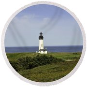 Landscape At Yaquina Lighthouse Round Beach Towel