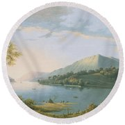 Landscape Along The Rhine Round Beach Towel