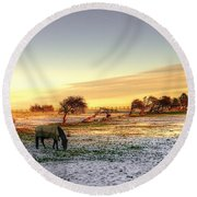 Landscape And Horse Round Beach Towel
