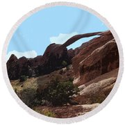 Landscape Arch In Arches National Park Round Beach Towel