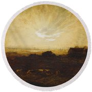 Landscape At Sunset Round Beach Towel by Marie Auguste Emile Rene Menard
