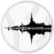 Landscape Black And White - Reflection Round Beach Towel