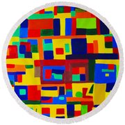 Landscape Buildings Round Beach Towel