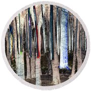 Landscape Forest Trees Round Beach Towel