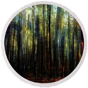 Landscape Forest Trees Tall Pine Round Beach Towel