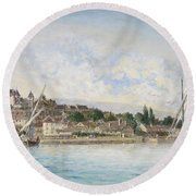 Landscape From Lake Leman To Nyon Round Beach Towel