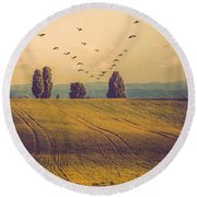Landscape In France Round Beach Towel