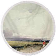 Landscape In Normandy, Traditionally Round Beach Towel