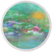 Landscape In Pastel Colors Round Beach Towel