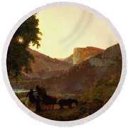 Landscape Round Beach Towel by Joseph Wright of Derby