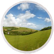 Landscape Near Hallsands In Devon Gb Round Beach Towel