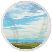 Landscape Of Denver Colorado Round Beach Towel