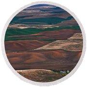 Landscape Of Rolling Farmland Steptoe Butte Washington Art Prints Round Beach Towel
