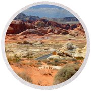 Landscape Of Valley Of Fire State Park Round Beach Towel