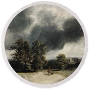 Landscape On The Outskirts Of Paris Round Beach Towel