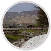 Landscape Outside The Entrance To The Eilean Doonan Castle In Sc Round Beach Towel