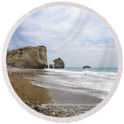 Seascape  Paphos Cyprus Round Beach Towel