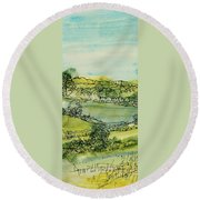Landscape Pen & Ink With Wc On Paper Round Beach Towel