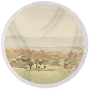 Landscape, Possibly Framlingham, Suffolk Round Beach Towel
