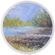Landscape Whit River Round Beach Towel
