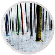Landscape Winter Forest Pine Trees Round Beach Towel