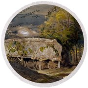 Landscape With A Barn, Shoreham, Kent Round Beach Towel
