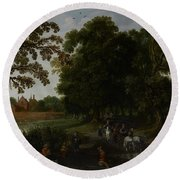 Landscape With A Courtly Procession Before Abtspoel Castle Round Beach Towel