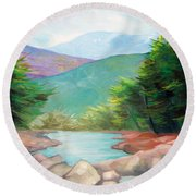 Landscape With A Creek Round Beach Towel