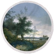 Landscape With A Fox Chasing Geese Round Beach Towel