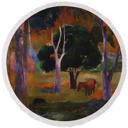 Landscape With A Pig And Horse Round Beach Towel