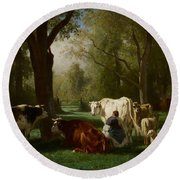 Landscape With Cattle And Sheep Round Beach Towel
